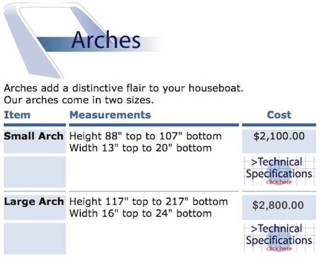 Fiberglass Houseboat Flybridge Arch - arches