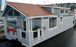 Traditional floating home cottage houseboat