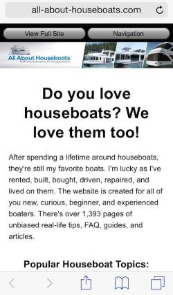 All About Houseboats is now Mobile Friendly