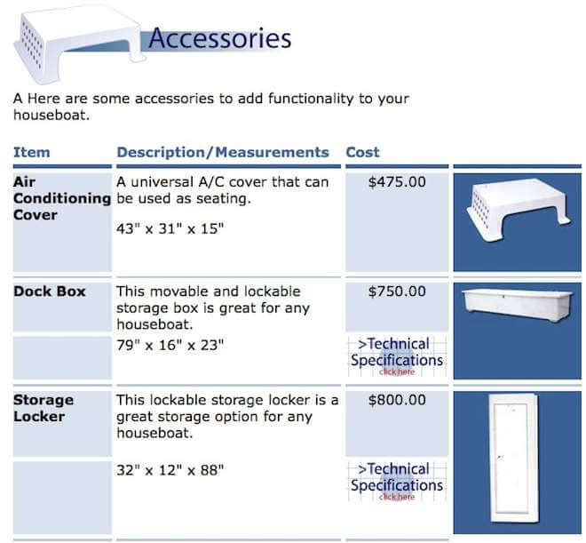 Fiberglass Houseboat Accessories - AC cover seats, dock boxes, storage lockers