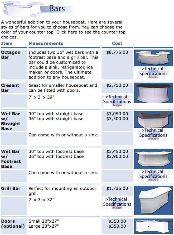 Fiberglass Houseboat Bars, Wet Bars, and Grills