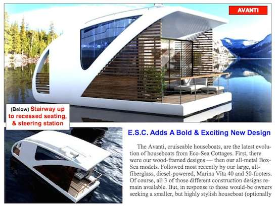 New AVANTI modern floating home style houseboats