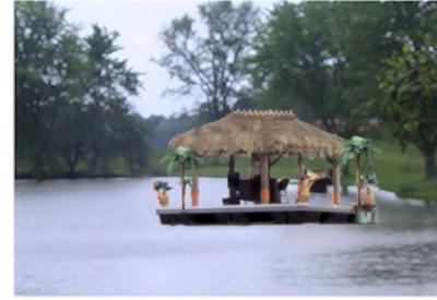 A Floating Island Or A Houseboat Dock