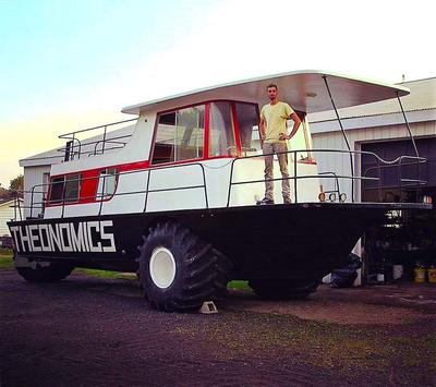 The MONSTER amphibious houseboat