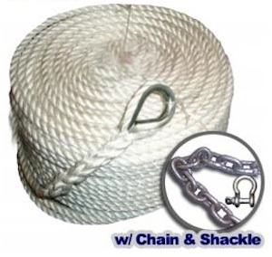Anchor Rope - three strand nylon line, chain, and shackle