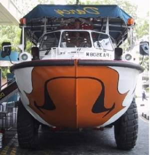 A sample of an amphibious boat for land and water.