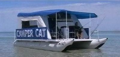 Camper Cat Pontoon Houseboats - low cost, inflatable, light