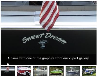 Custom Houseboat Graphics - names, numbers, and decals.
