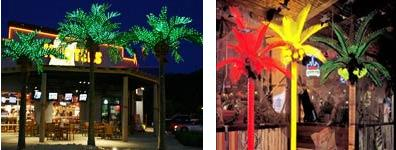 Decorative Lighted Palm Trees on Houseboats