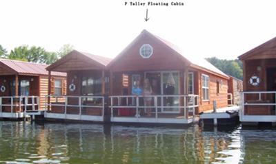 Floating cabin homes can be used as stationary houseboats.