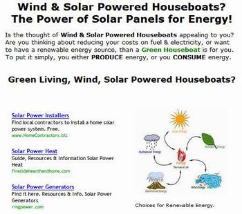 Green Living Wind Solar Powered Houseboats