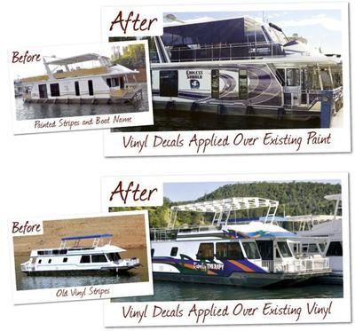 House Boat Graphics - a boat before, and a boat after application