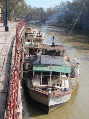 Some houseboats at Echuca Wharf, Murray River, Australia