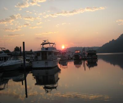 Sunrise on the Allegheny River at Fox Chapel Yacht Club, August 2011
