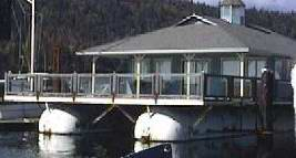 A sample floating clubhouse houseboat.