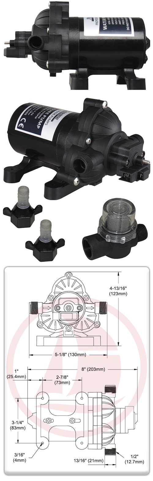 Fresh Water Pump 3.5 GPM, 12v, 45 PSI