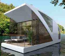 Modern floating home cottage houseboat