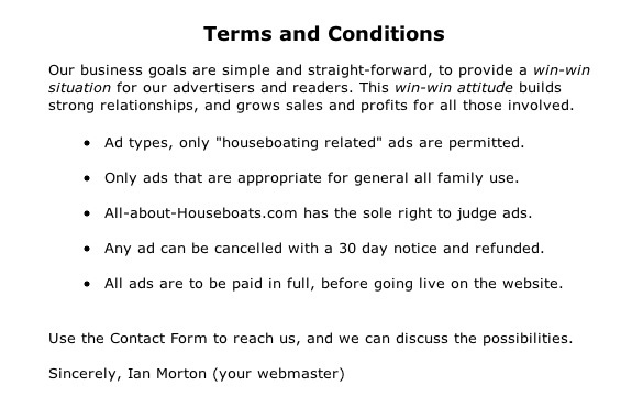 sample Terms and Conditions for Houseboat Advertising