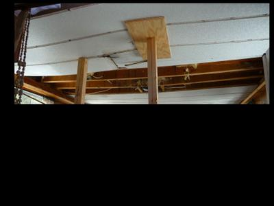 Houseboat roof leaks, doing ceiling panel repairs