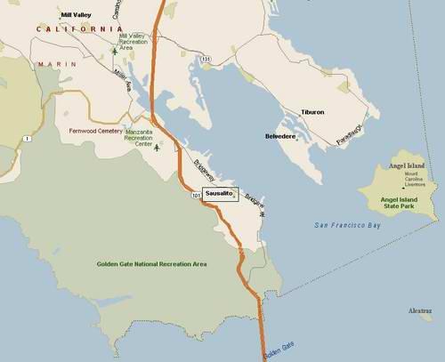 Map of Sausalito Houseboat Rentals