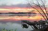 Houseboat sunrise on Wylie Lake in South Carolina