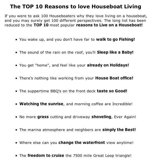 Top-10 Tips and Reasons to Live on a Houseboat