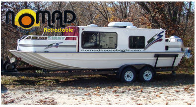 Nomad Builds This Low Profile, Retractable, Trailerable Houseboat.