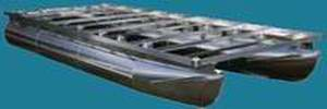 A typical aluminum pontoon houseboat hull.