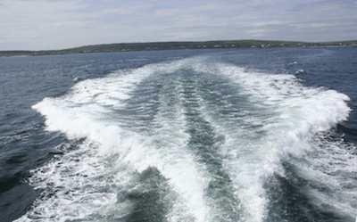 Boat waves or wake common at dock, marina, or at anchor