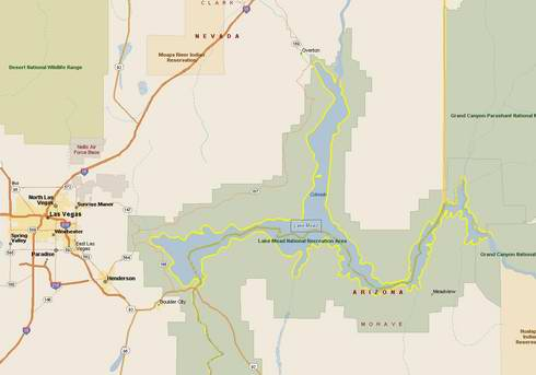 Map of Lake Mead Houseboats