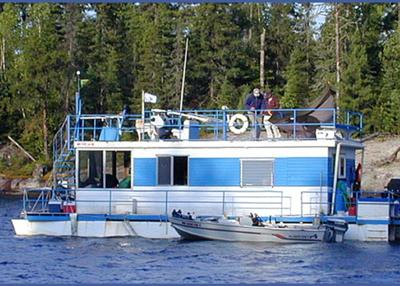 Our 1965, 46 foot, Boatel houseboat, with aluminum siding.