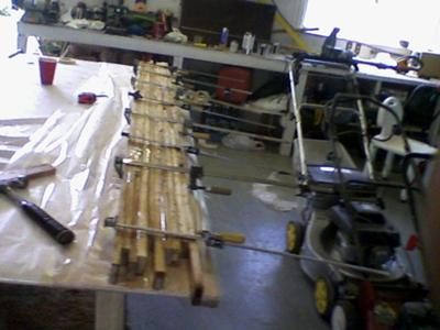 Building a Wooden Houseboat - the wood lamination process I used