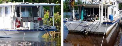 Repairing a Houseboat Outdrive Leak on a Beach