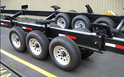 A typical style big boat / houseboat trailer