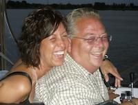 Linda and Ian on the houseboat
