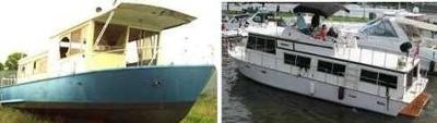 Photo's of steel and a fiberglass Whitcraft houseboat.