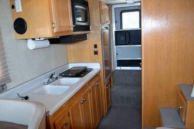 Interior galley view of a Nomad houseboat