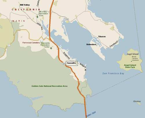 Map of Sausalito Houseboat Rentals