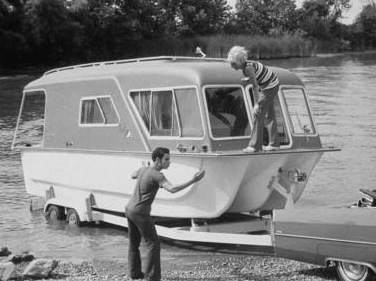 The rare trailerable Combo Cruiser houseboats.