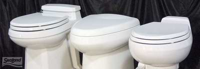 Typical VacuFlush Electric Marine Toilets in Houseboats