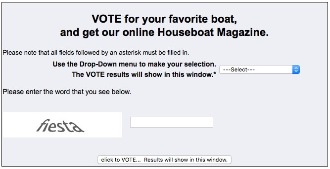 Vote for favorite houseboat