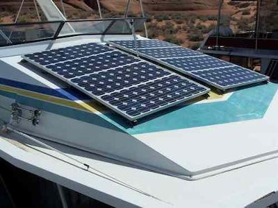 Solar Houseboat Installations - solar panels on flybridge