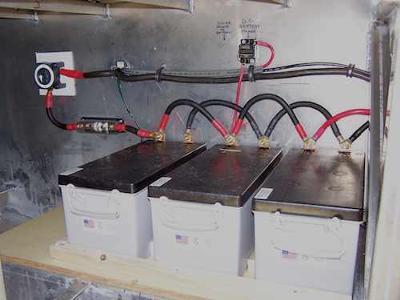 Houseboat Battery Banks - batteries store solar power