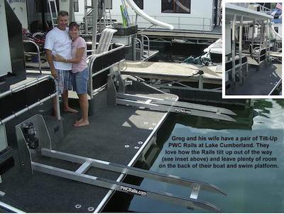 Jet Ski Lift, PWC Rails, and Sea Doo for a houseboat