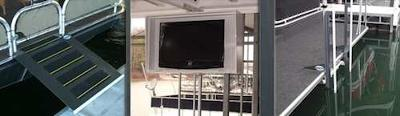 Aluminum Houseboat Accessories - walkway ramps, tv boxes, runabout bars
