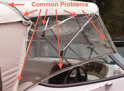 Houseboat Canvas Bimini Party Tops, clear vinyl enclosure, covers