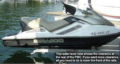 Jet Ski Lifts, PWC Rails, SeaDoo, for houseboat platforms